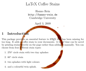 LaTeX coffee stains